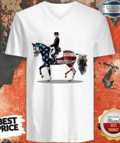 American Flag Dressage Horse V-neck