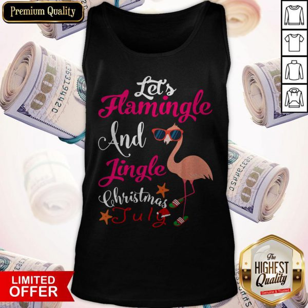 Let's Flamingle And Jingle Christmas In July Tank Top