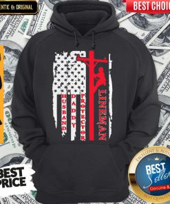 Official Lineman Husband Daddy Protector American FlaHg Hoodie