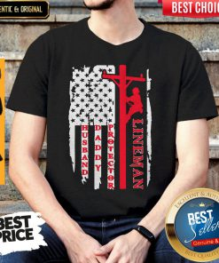 Official Lineman Husband Daddy Protector American Flag Shirt