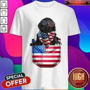 Portuguese Water Pocket American Flag Independence Day Shirt