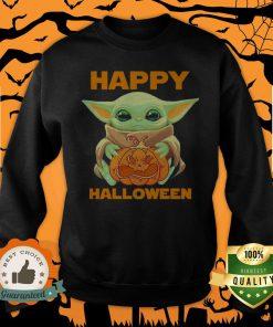 Baby Yoda Hug Pumpkin Happy Halloween Sưeatshirt