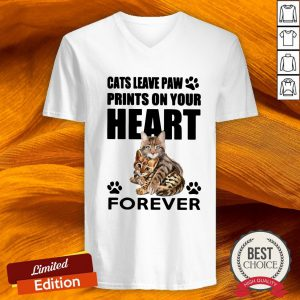 Cats Leave Paw Prints On Your Heart Forever V-neck