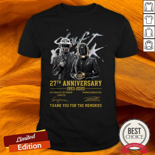 Daft Punk Electronic Music 27th Anniversary 1993-2020 Signature Thank You For The Memories Shirt
