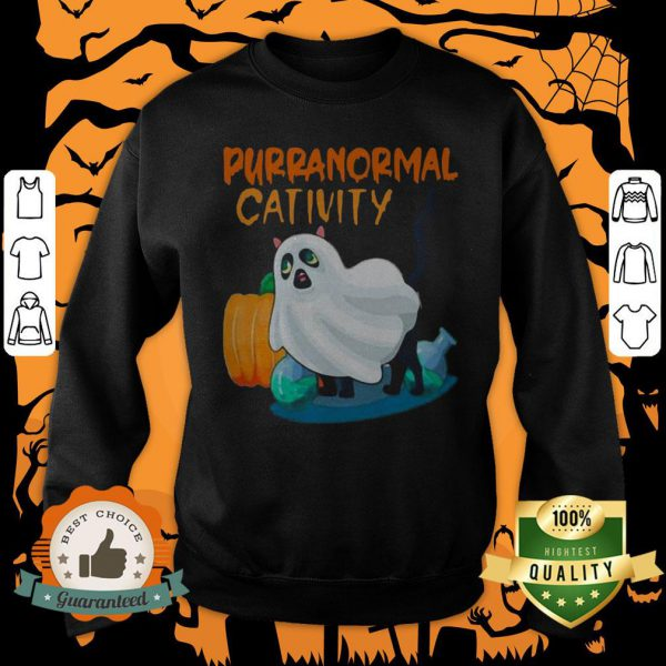 Ghost Cat Purranormal Activity Funny Halloween Sweatshirt