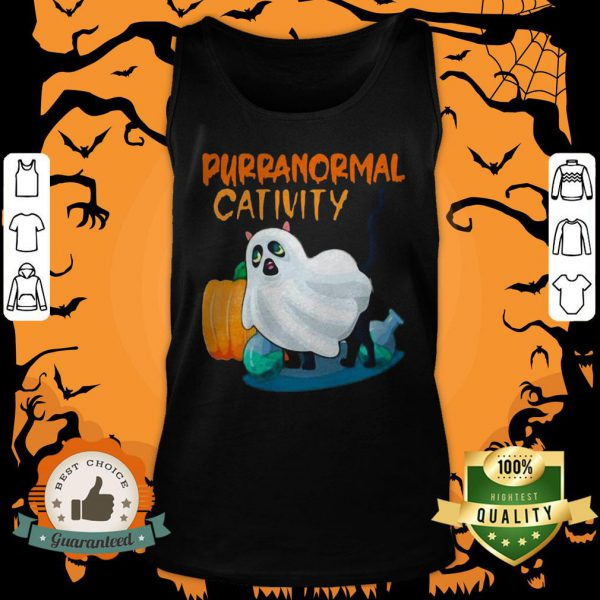 Ghost Cat Purranormal Activity Funny Halloween Tank Top