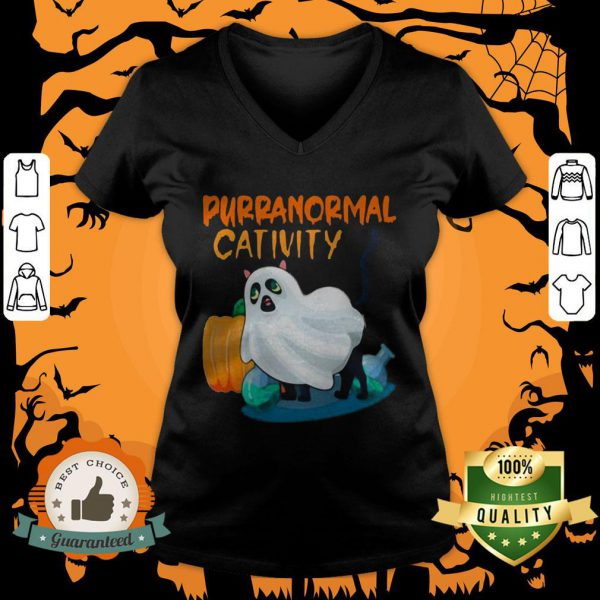 Ghost Cat Purranormal Activity Funny Halloween V-neck