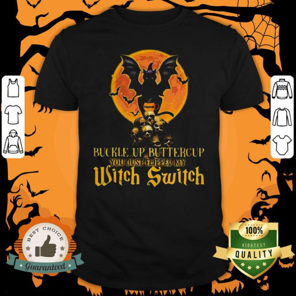 Halloween Cat Skulls Buckle Up Buttercup You Just Flipped My Witch Switch Shirt