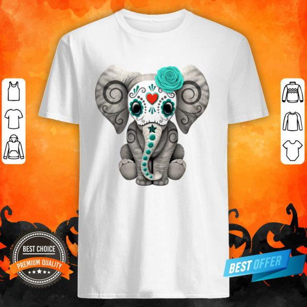 Teal Blue Day Of The Dead Sugar Skull Baby Elephant Shirt