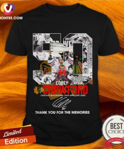 50 Corey Crawford Chicago Blackhawks 2005 06 2007 2020 Thank You For The Memories Signature Shirt