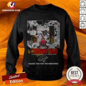 50 Corey Crawford Chicago Blackhawks 2005 06 2007 2020 Thank You For The Memories Signature Sweatshirt
