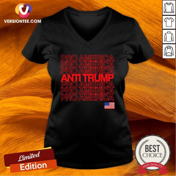 Good Anti Trump Pro America With American Flag Election V-neck Design By Versiontee.com