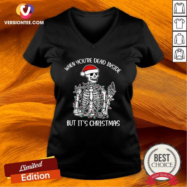 Happy When You're Dead Inside But It's Christmas V-neck - Design By Versiontee.com