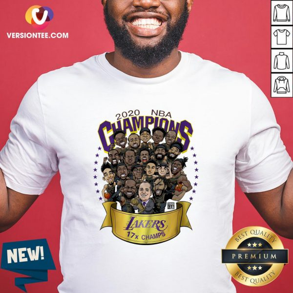 Hot 2020 NBA Champions Los Angeles Lakers 17 Champs Cartoon Shirt - Design By Versiontee.com