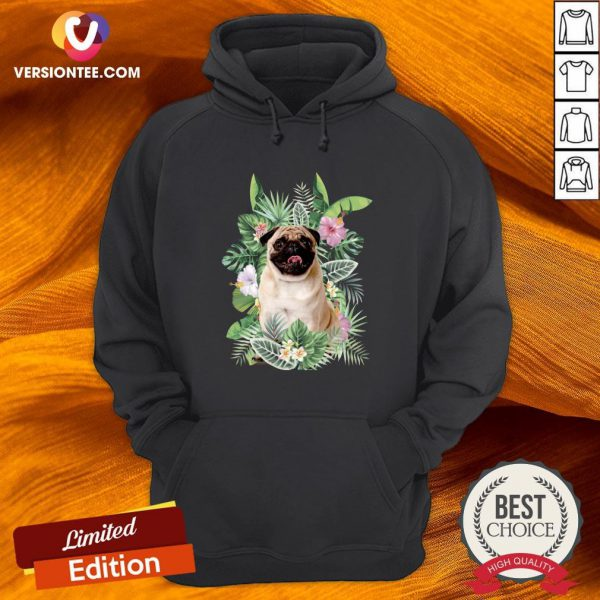 Official Pug White Flower Hoodie - Design By Versiontee.com