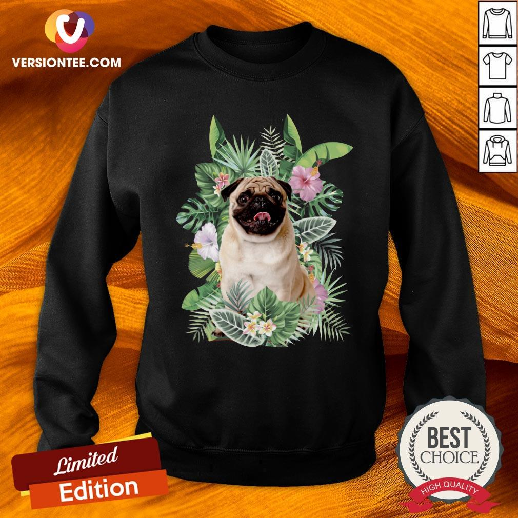 Official Pug White Flower Sweatshirt - Design By Versiontee.com