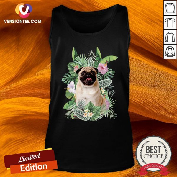 Official Pug White Flower Tank Top - Design By Versiontee.com