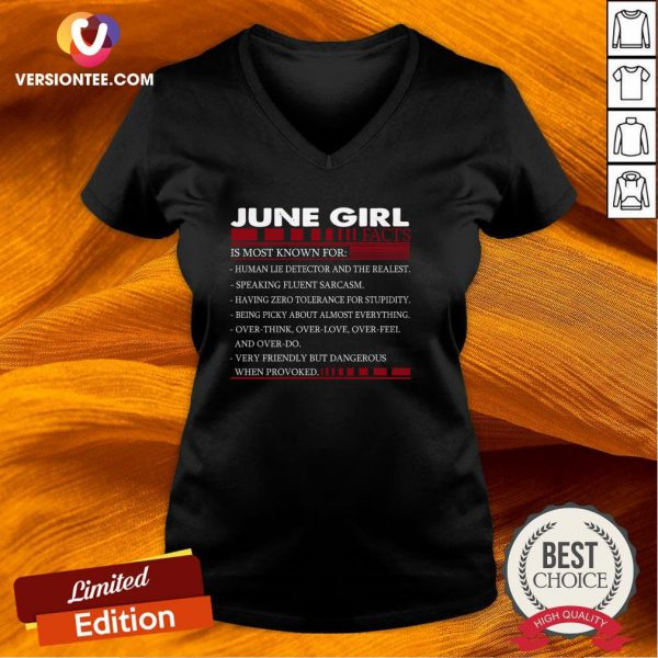 Perfect June Girl Facts Is Most Known For V-neck - Design By Versiontee.com