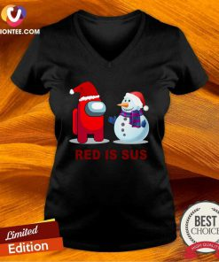Red Is Sus Among Us Christmas Game Among Us Xmax V-neck - Design By Versiontee.com