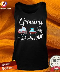 Awesome Growing My Valentine Ambulance Heart Foot Tank Top - Design by Tshirttop
